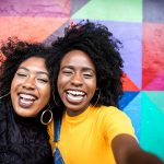 Image African American Women Smiling, Colorful Background