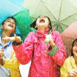 Image of Chidren with Umbrellas in the Rain