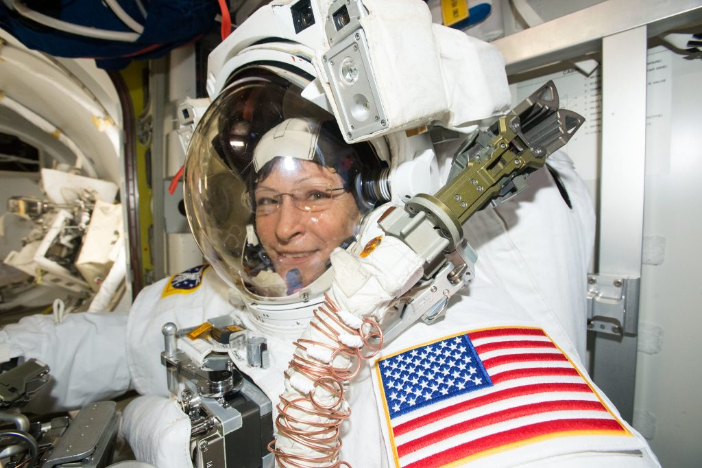 Expedition 50 Flight Engineer Peggy Whitson is suited up in the U.S. Quest airlock getting ready for her record-breaking eighth spacewalk.